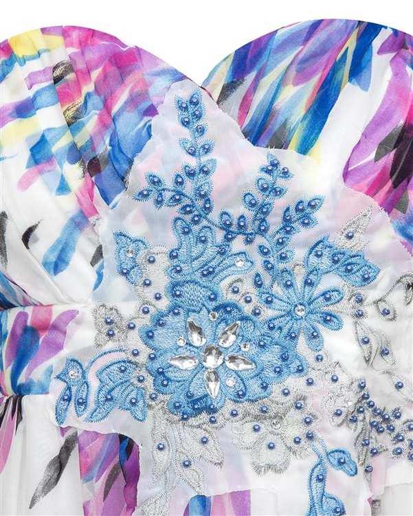 پیراهن گلدار زنانه سفید آبی QUIZ