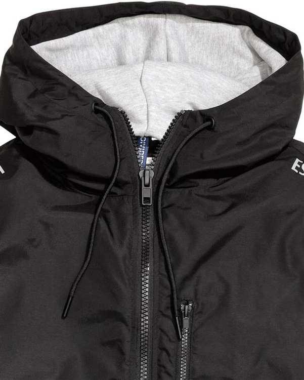 بارانی کلاهدار مردانه مشکی H&M