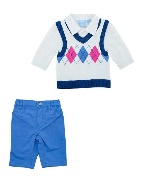 ست پلیور و شلوار نوزادی پسرانه سفید آبی TCP