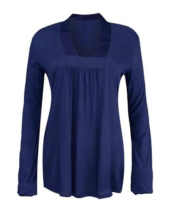 بلوز استرچ زنانه آبی کاربنی Zara