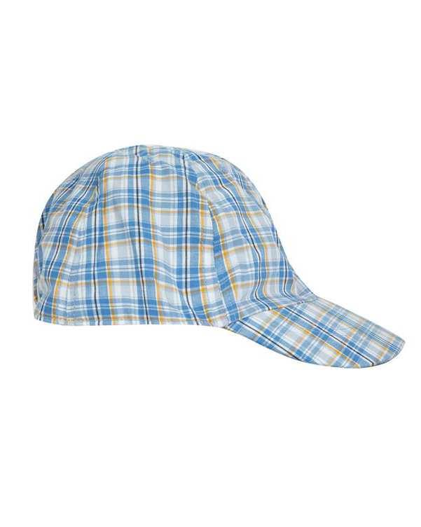 کلاه پسرانه لبهدار زرد آبی چهارخانه زارا