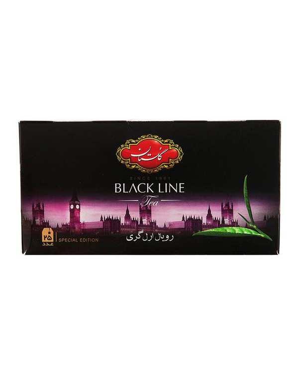 چای سیاه کیسه ای رویال ارل گری گلستان بسته 25 عددی