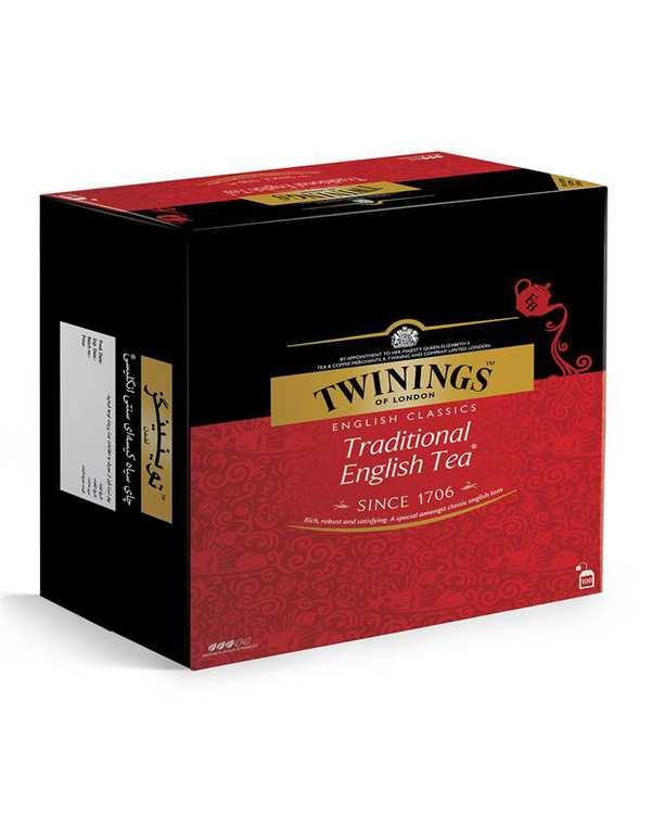 چای سیاه کیسهای سنتی انگلیسی Twinings بسته 100 عددی