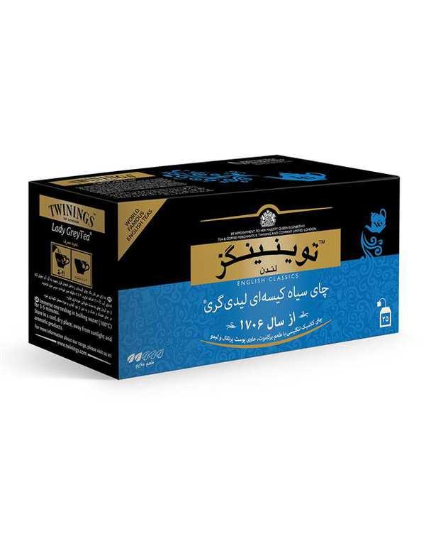 چای سیاه کیسه ای لیدی گری Twinings بسته 25 عددی