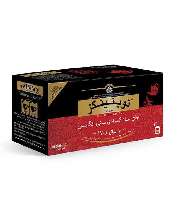 چای سیاه کیسهای سنتی انگلیسی توینینگز بسته 25 عددی