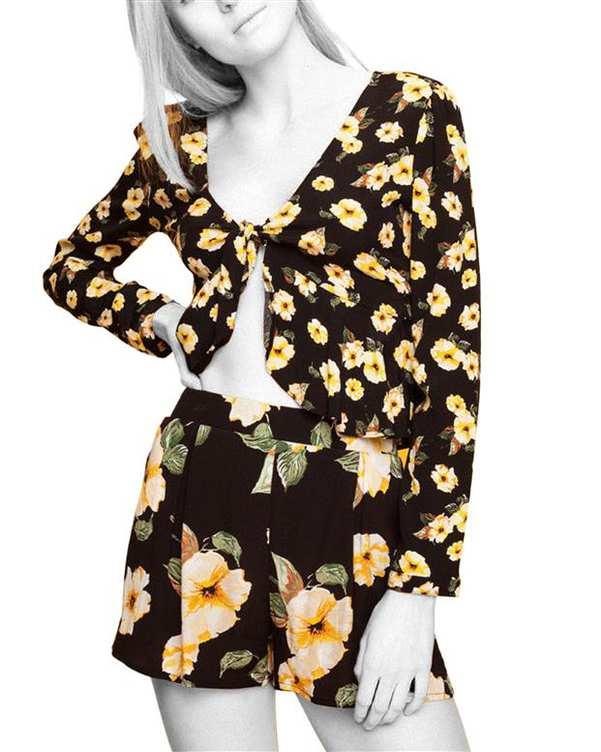 بلوز زنانه مشکی گلدار Tally Weijl