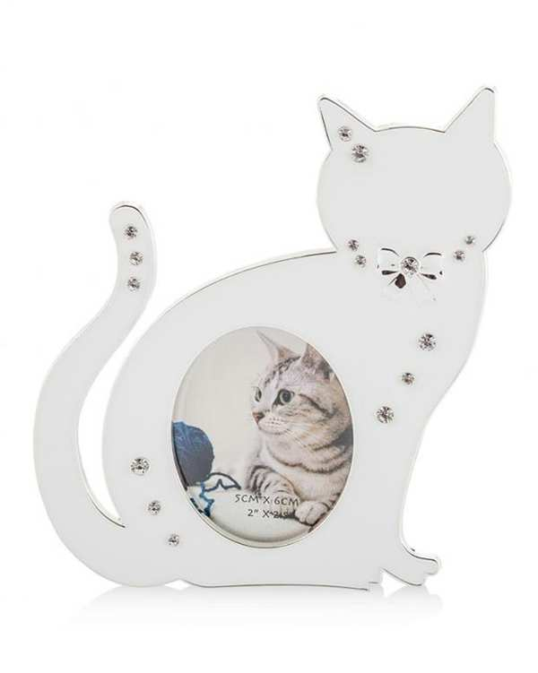 قاب عکس فلزی سفید طرح گربه Home&You