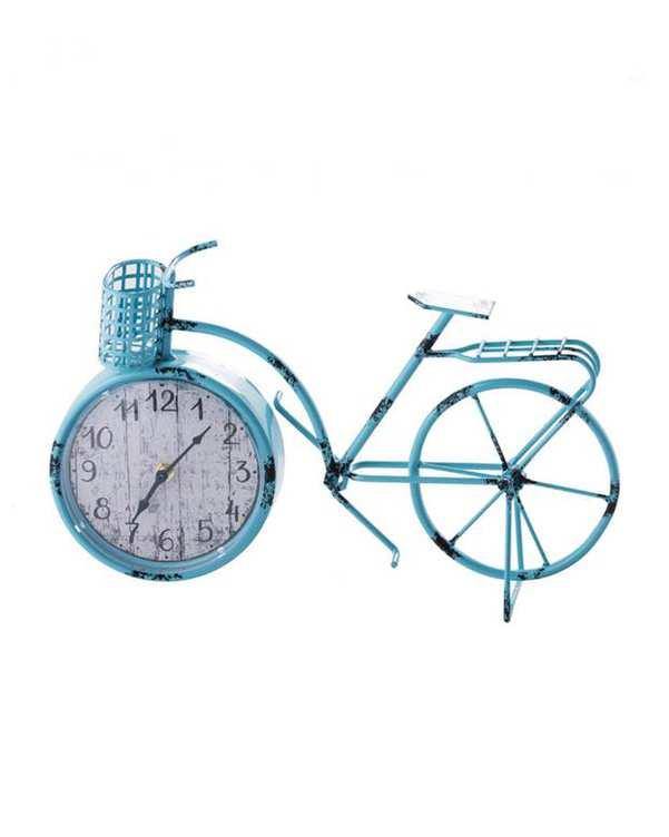 ساعت رومیزی طرح دوچرخه فلزی آبی Home&You