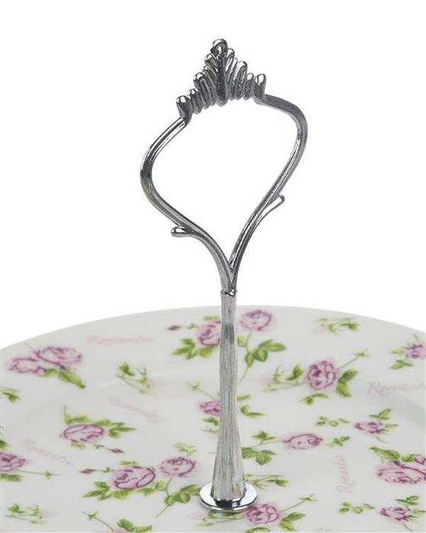 شیرینی خوری 2 طبقه سرامیکی سفید صورتی گلدار Vintage