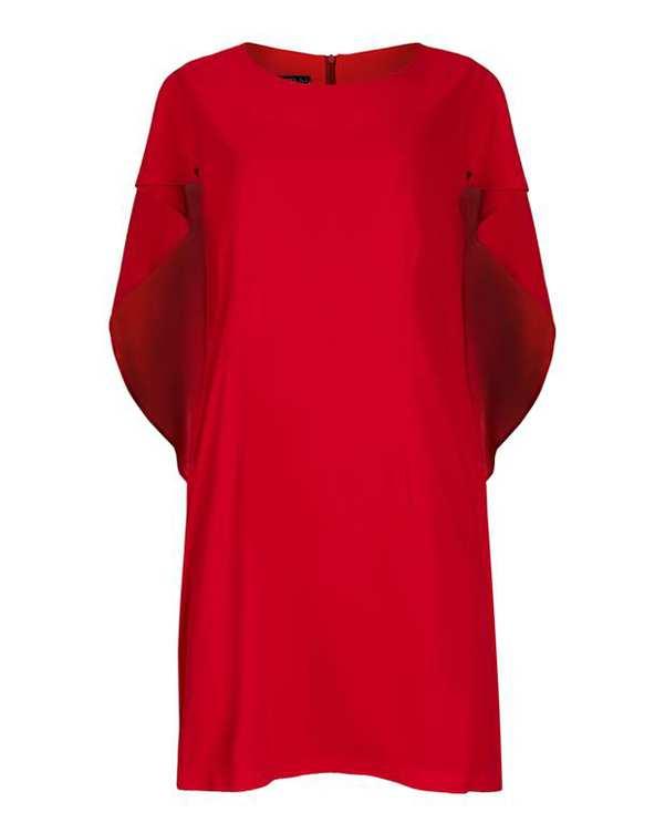 پیراهن زنانه راسته کرپ قرمز زیبو