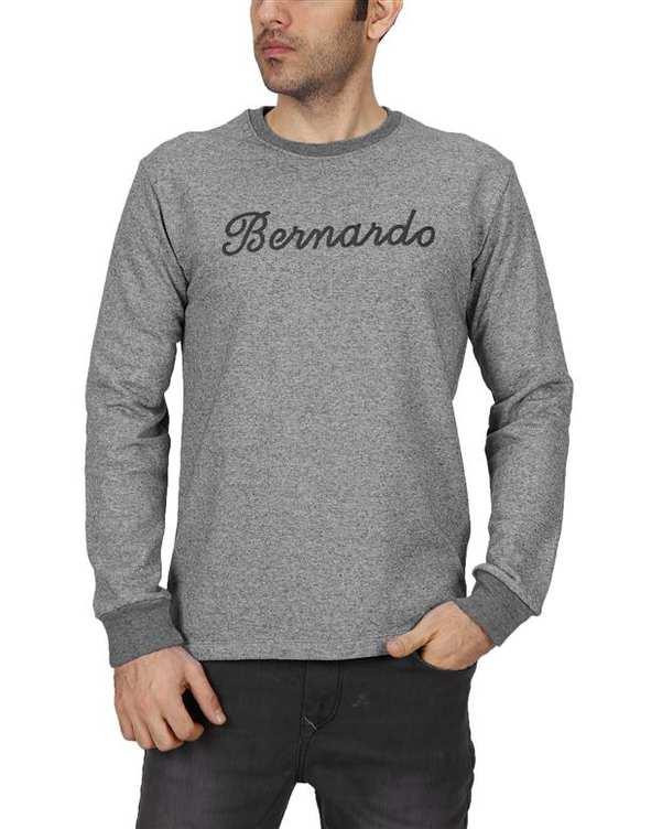 سویشرت مردانه جلو بسته سرمه ای ملانژ Bernardo