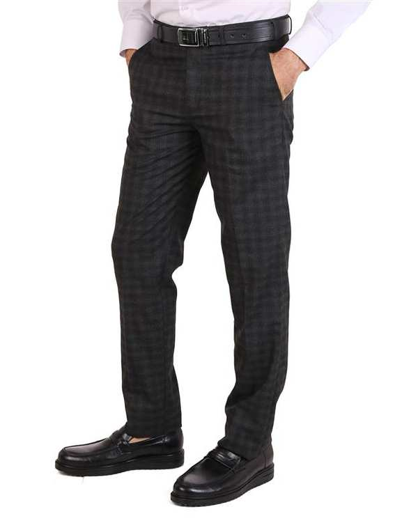 شلوار مردانه پارچه ای خاکستری چهارخانه LRC