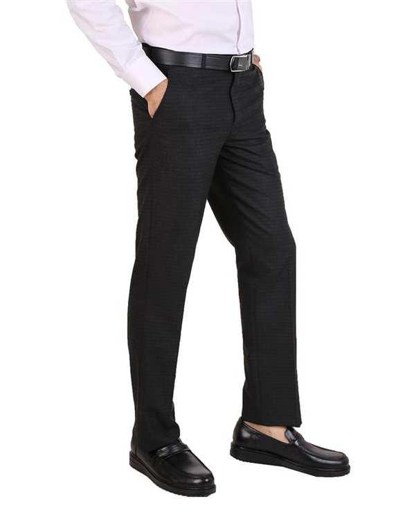 شلوار مردانه پارچه ای زغالی چهارخانه LRC