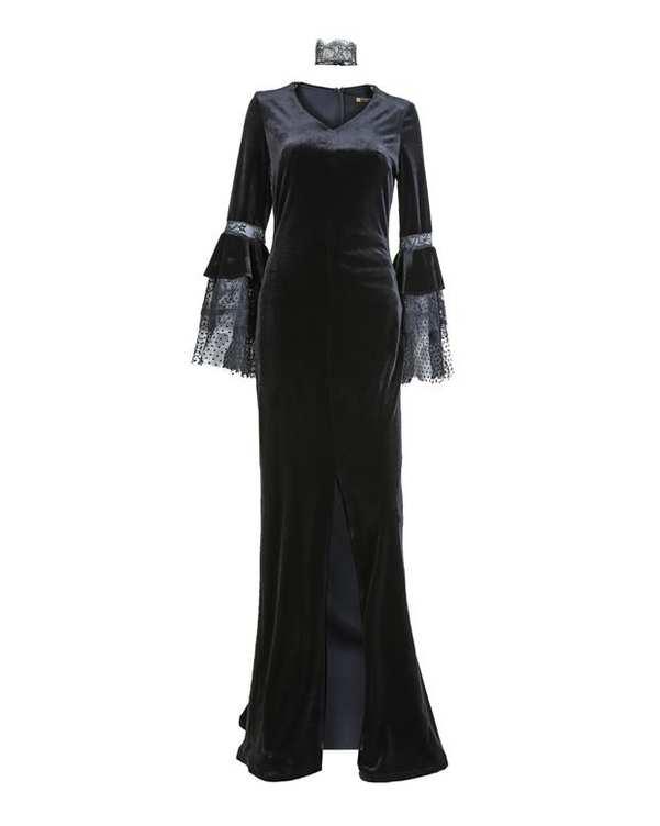لباس مجلسی مخمل زنانه ماکسی مشکی Vichy