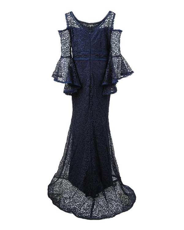 لباس مجلسی گیپور زنانه ماکسی آف شولدر سرمه ای Vichy