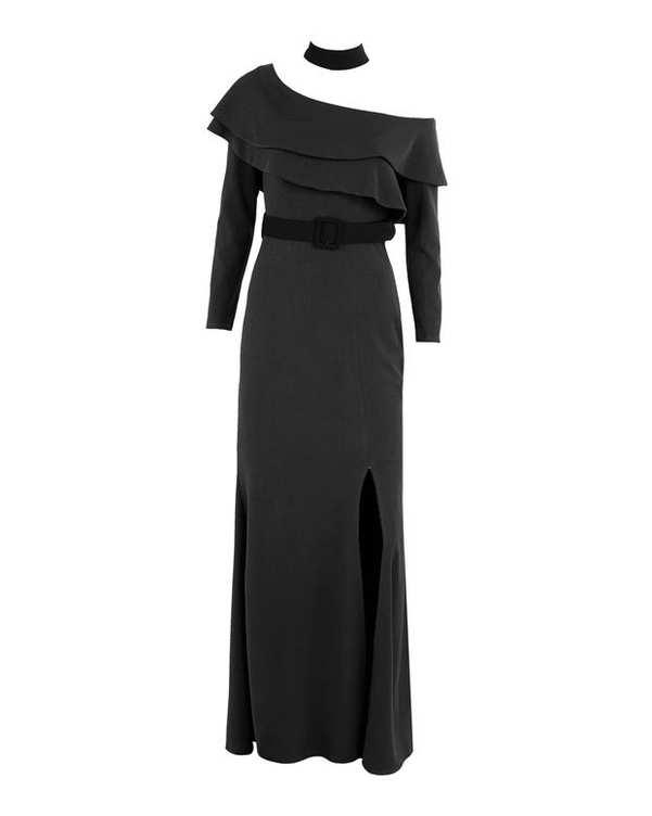 لباس مجلسی کرپ زنانه ماکسی مشکی Vichy