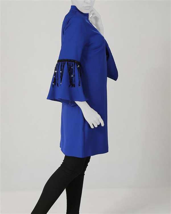 پیراهن زنانه کرپ آبی کاربنی Ziboo