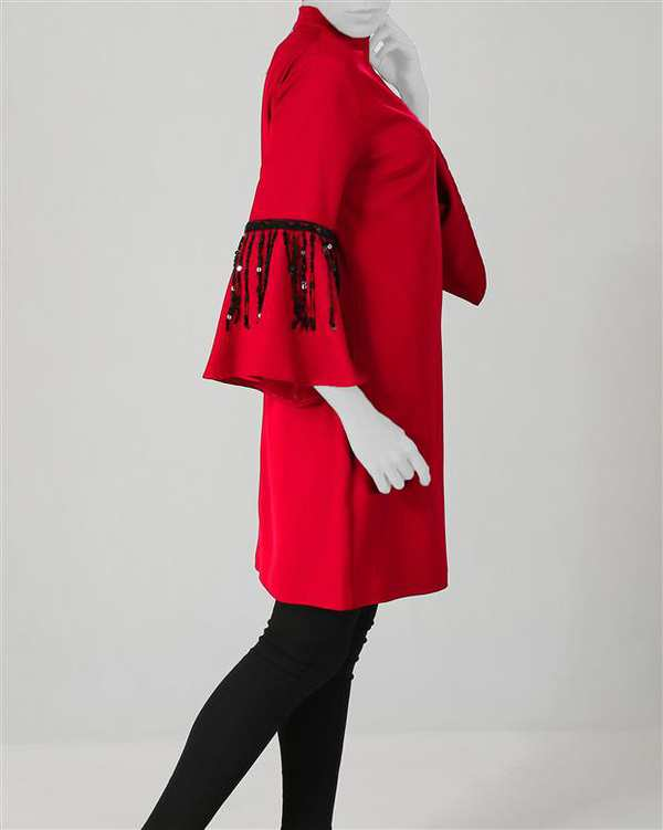 پیراهن زنانه کرپ قرمز Ziboo