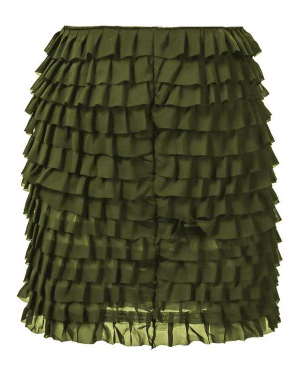 دامن زنانه چین دار سبز زیتونی Ziboo