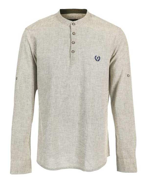 پیراهن مردانه نخی قهوه ای سفید پاتن جامه