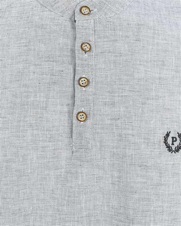 پیراهن مردانه نخی سرمه ای سفید پاتن جامه