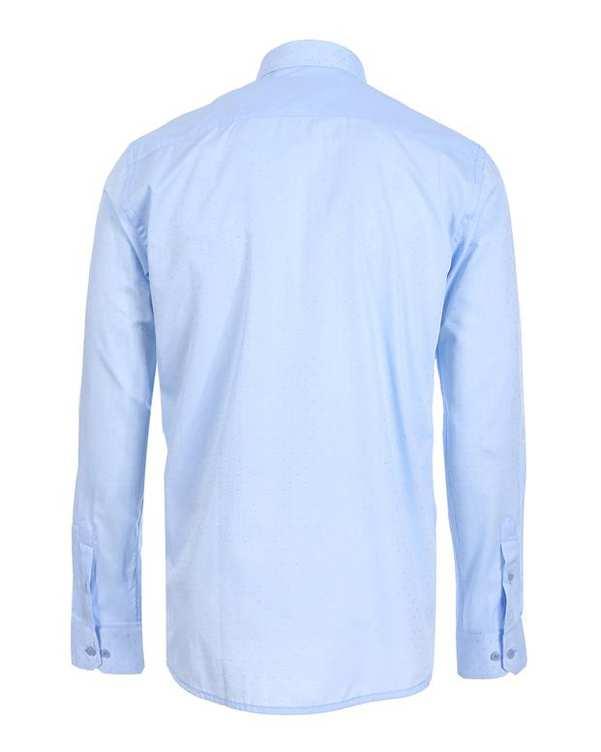 پیراهن مردانه آبی آسمانی خال خالی پاتن جامه