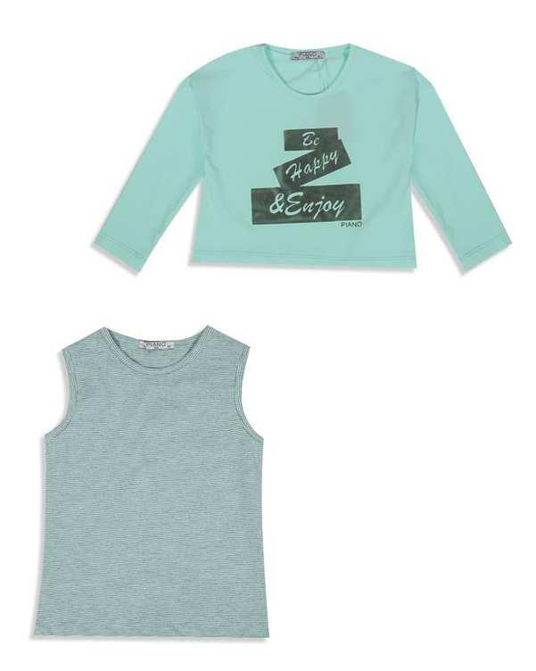 ست تاپ و تی شرت دخترانه نخی سبز نعناعی Piano