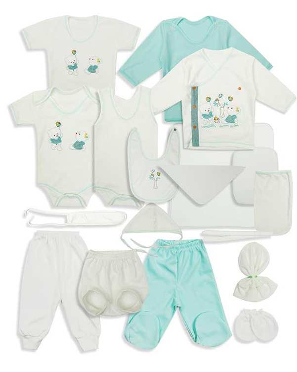 ست 20 تکه نوزادی نخی سفید سبز فیروزه ای Carmania