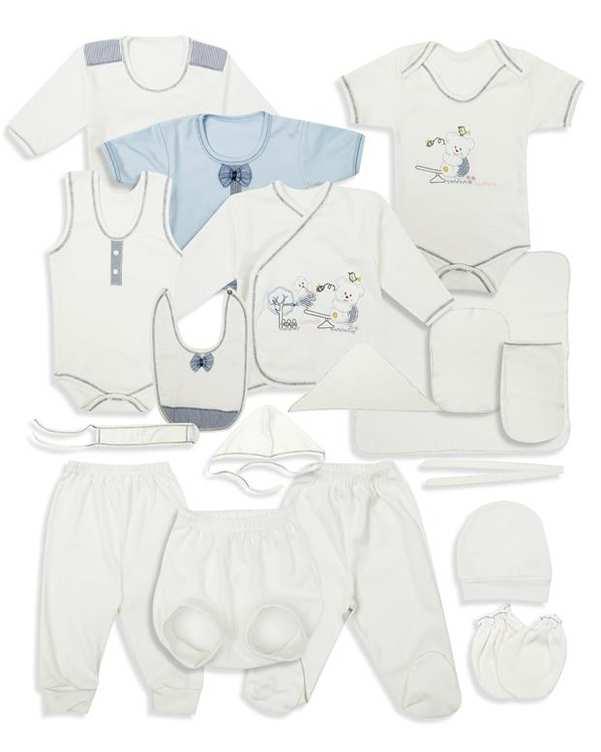 ست 20 تکه نوزادی نخی سفید آبی Carmania