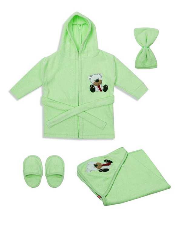 سرویس حوله تن پوش نوزادی سبز روشن BIM