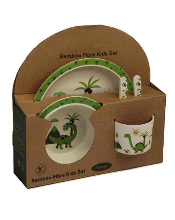 سرویس ظرف غذای پسرانه بامبو استخوانی سبز