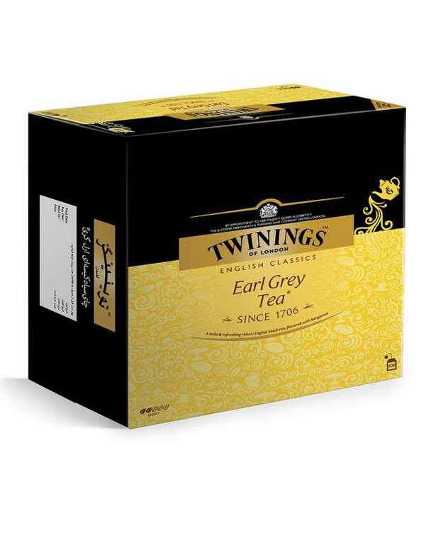 چای سیاه کیسه ای ارل گری توییننگزبسته 100 عددی