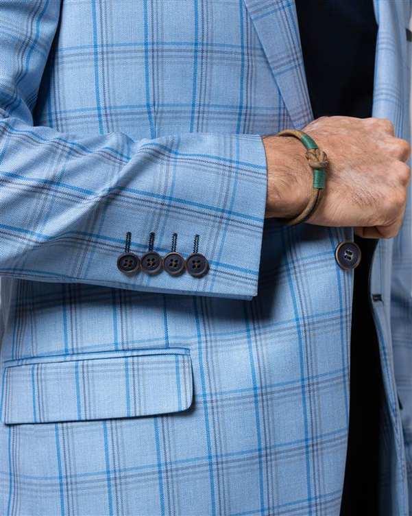کت تک مردانه آبی روشن چهارخانه LRC