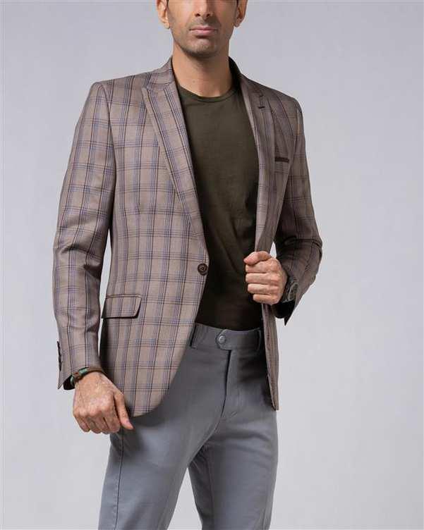 کت تک مردانه قهوه ای چهارخانه LRC