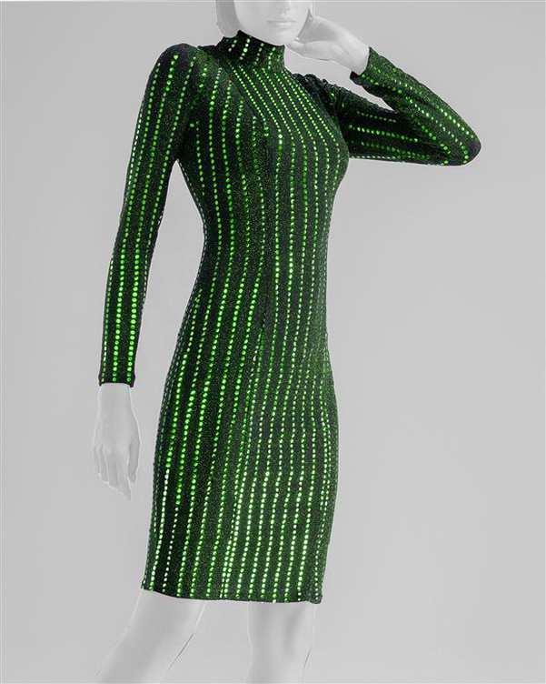 پیراهن مجلسی زنانه کوتاه لمه مشکی سبز پولک دوزی Vichy