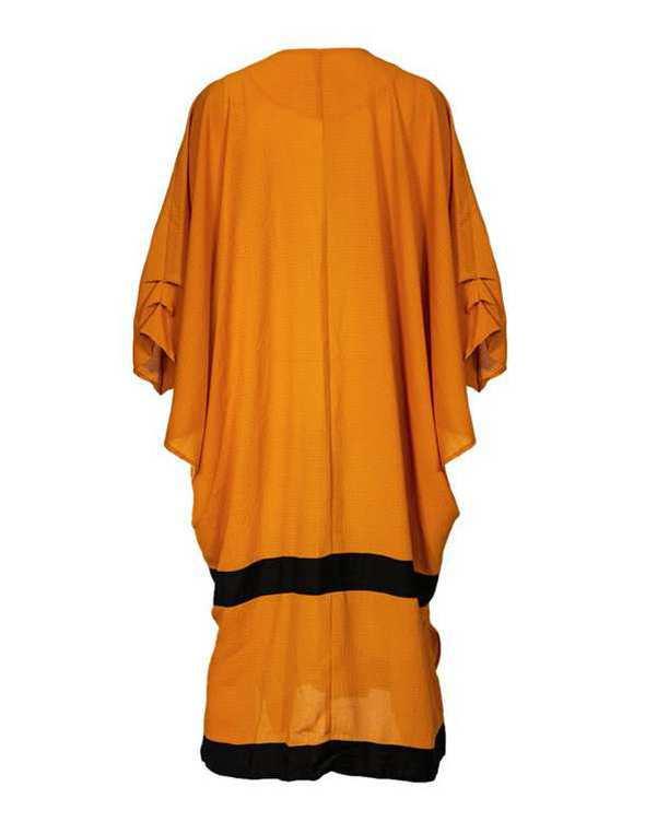 مانتو زنانه بلند عبایی کرپ پفکی نارنجی بلفی