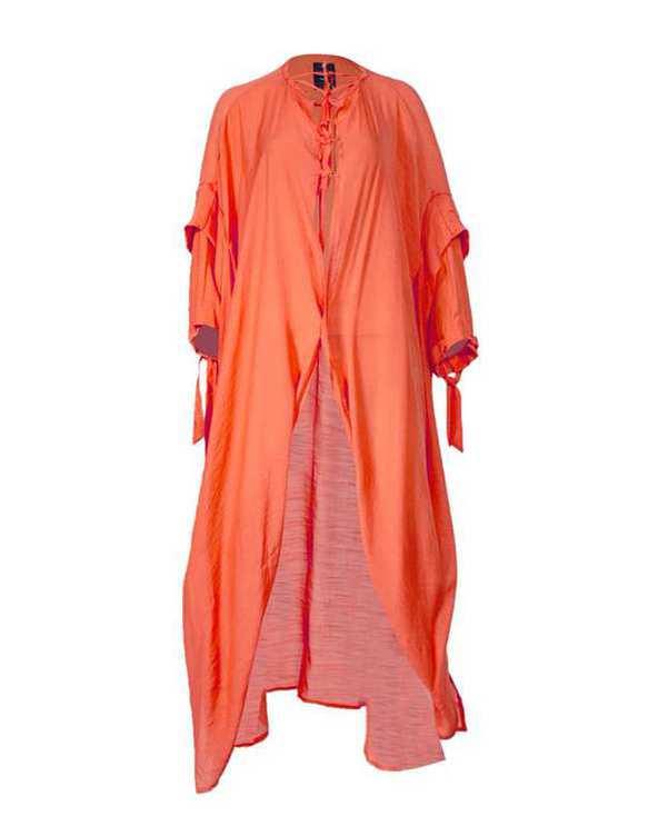 مانتو زنانه بلند عبایی گشاد نارنجی بلفی