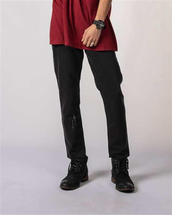 شلوار مردانه جین زاپ دار مشکی Vimana