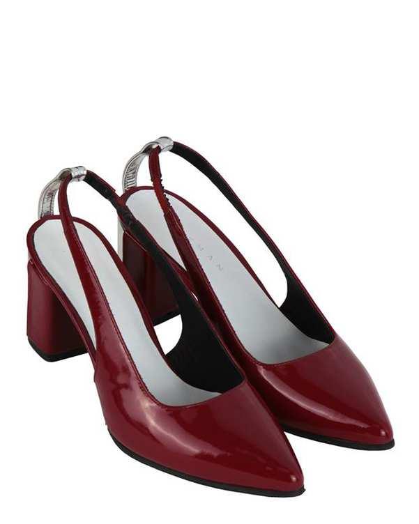 کفش چرم زنانه پاشنه بلند پشت باز Lamia زرشکی Artman