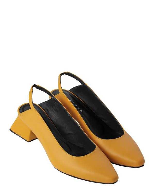کفش چرم زنانه پاشنه بلند پشت بازLida s خردلی Artman