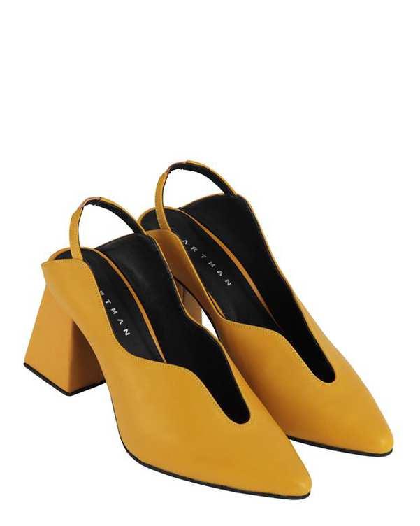 کفش چرم زنانه پاشنه بلند پشت باز Veruka خردلی Artman