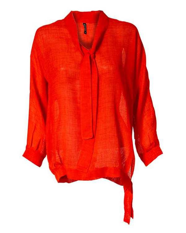 بلوز زنانه یقه کرواتی قرمز کیکی رایکی
