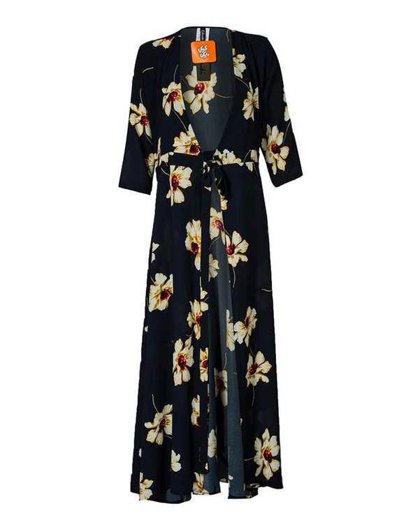 رویه لباس زنانه کرپ سرمه ای گلدار کیکی رایکی