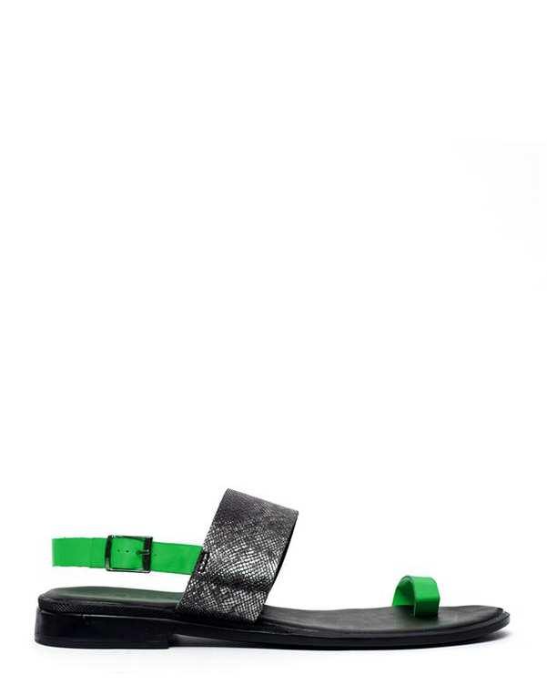 صندل زنانه تک انگشتی مشکی سبز Atakoy