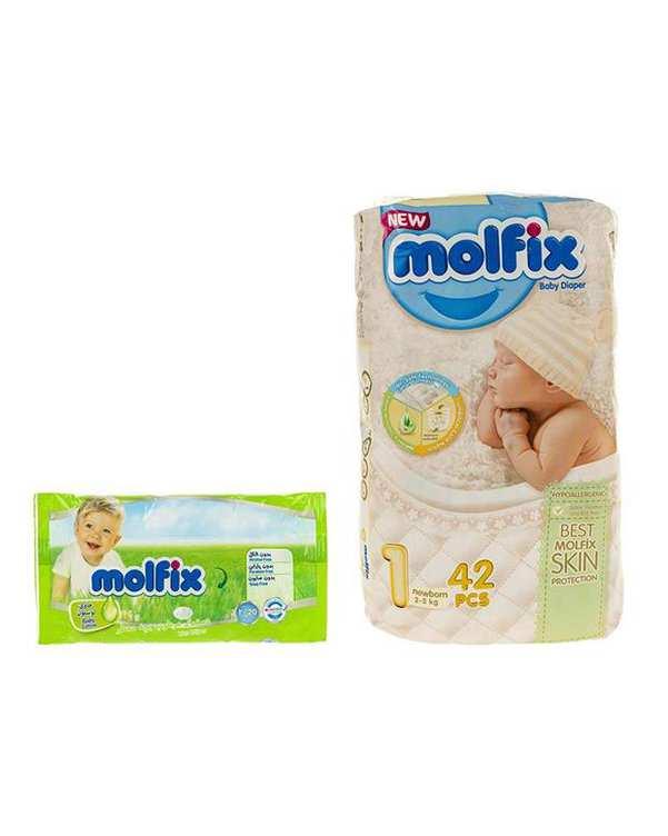 بسته 42 عددی پوشک نوزادی سایز 1+دستمال مرطوب مولفیکس