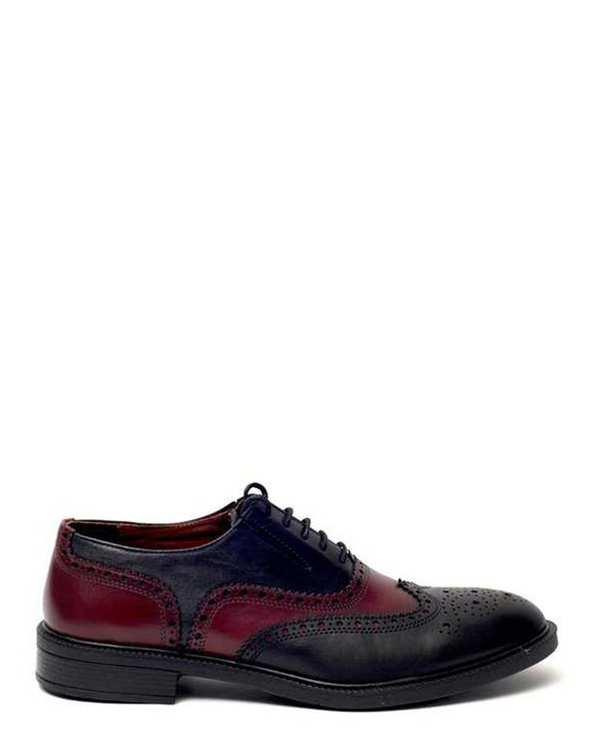 کفش چرم مردانه رسمی مدل 990 مشکی زرشکی هوگرو