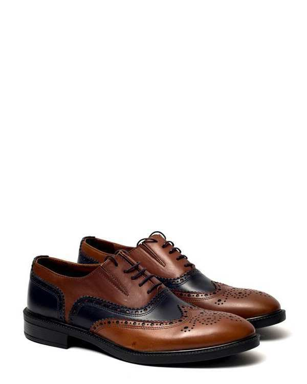کفش چرم مردانه رسمی مدل 990 عسلی سرمه ای هوگرو