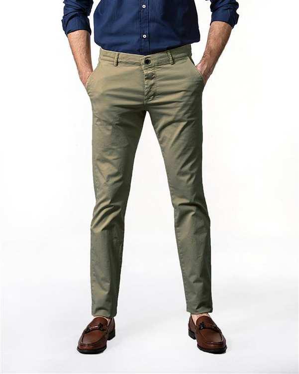 شلوار مردانه چسبان کتان سبز سدری هوگرو