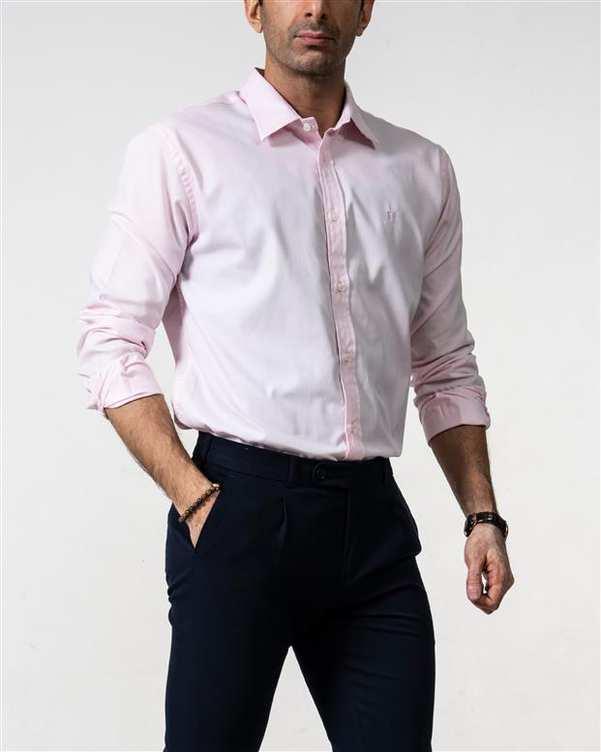 پیراهن مردانه رسمی صورتی هوگرو