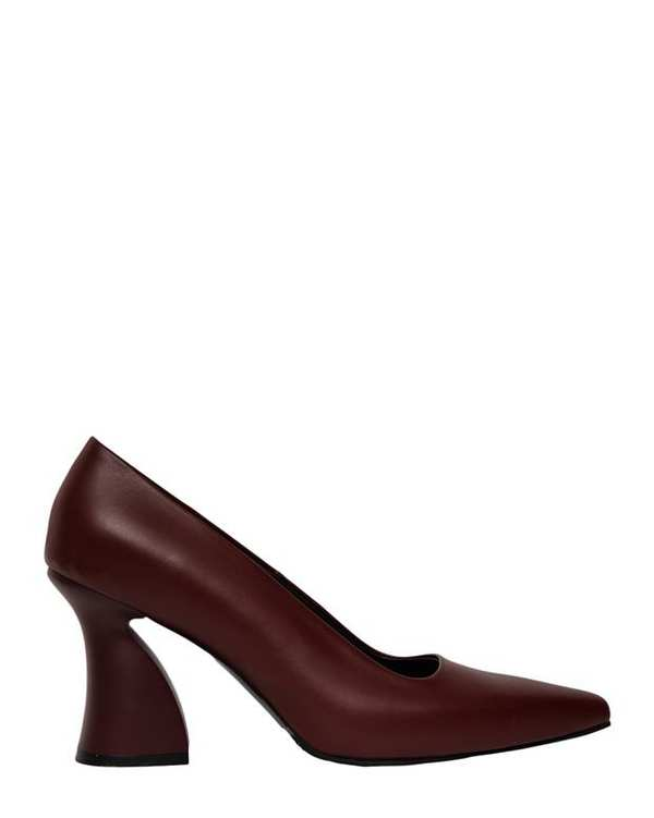 کفش چرم زنانه پاشنه بلند آتوسا زرشکی آرتمن